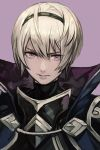 1boy blonde_hair fire_emblem fire_emblem_if hankuri high_collar leon_(fire_emblem_if) looking_at_viewer portrait purple_background simple_background solo