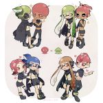 4boys 4girls afro black_skirt blue_eyes blue_hair boots cloak couple eye_contact green_eyes green_hair hair_ornament hairpin hand_holding hetero highres inkling looking_at_another midriff miniskirt momiji249 multiple_boys multiple_girls navel octoling orange_eyes orange_hair pink_eyes pink_hair pointy_ears ponytail shoes shorts skirt smile sneakers sparkle splatoon splatoon_2 splatoon_2:_octo_expansion squidbeak_splatoon sweatdrop tentacle_hair yaoi yuri