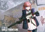 1girl ar-15 black_gloves blue_eyes blue_hair brown_hair character_name closed_mouth copyright_name fingerless_gloves girls_frontline gloves graffiti gun highres holding holding_gun holding_weapon idw_(girls_frontline) jacy lee-enfield_(girls_frontline) looking_at_viewer rifle short_hair short_twintails sniper_rifle solo st_ar-15_(girls_frontline) twintails wanted weapon