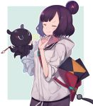 1girl bag casual closed_eyes collarbone contemporary fate/grand_order fate_(series) hair_bun hair_ornament high_five hood hoodie katsushika_hokusai_(fate/grand_order) octopus paintbrush purple_hair short_hair sketchbook smile totatokeke