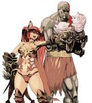 1boy 1girl absurdres animal_ears archvermin bald bare_shoulders breasts cerberus_(shingeki_no_bahamut) crossover dog_ears god_of_war hand_puppet highres kratos long_hair medium_breasts muscle navel open_mouth puppet red_eyes redhead shingeki_no_bahamut standing tattoo thigh-highs twintails very_long_hair weapon