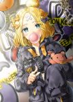 1girl abigail_williams_(fate/grand_order) balloon bangs black_bow black_jacket blonde_hair blue_eyes blush bow chains chewing_gum closed_mouth commentary_request crossed_bandaids eyebrows_visible_through_hair fate/grand_order fate_(series) graffiti h_shai hair_bow hair_bun jacket long_hair long_sleeves looking_at_viewer object_hug orange_bow parted_bangs pointing polka_dot polka_dot_bow sleeves_past_fingers sleeves_past_wrists solo standing stuffed_animal stuffed_toy teddy_bear zipper