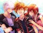 1girl 2boys bangs brown_hair chain_necklace closed_mouth crown fingerless_gloves gloves jewelry kairi_(kingdom_hearts) kingdom_hearts kingdom_hearts_iii medium_hair multiple_boys necklace redhead riku sera_(serappi) short_hair silver_hair smile sora_(kingdom_hearts)