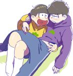 2boys :d arm_around_shoulder arm_around_waist arm_support blue_pants blush blush_stickers brothers capsule_1 closed_mouth eye_contact half-closed_eyes hand_on_another's_shoulder hand_up heart heart_in_mouth hood hood_down hoodie jitome kneehighs knees_up leg_up legs_together long_sleeves looking_at_another lying male_focus matsuno_ichimatsu matsuno_juushimatsu multiple_boys no_shoes nose_blush on_back open_mouth osomatsu-kun osomatsu-san pants purple_hoodie siblings simple_background sitting smile sweatpants white_background white_legwear yellow_hoodie