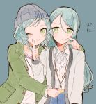 2girls bang_dream! blue_hair blush braid green_eyes hikawa_hina hikawa_sayo hood hoodie itomugi-kun long_hair multiple_girls one_eye_closed short_hair siblings simple_background sisters skirt smile sweatdrop twins upper_body