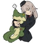 1girl =3 alligator bangs black_hat black_jacket blue_eyes closed_mouth commentary_request crocodilian cropped_torso dress_shirt eyebrows_visible_through_hair frown garrison_cap girls_und_panzer hat head_tilt holding holding_stuffed_animal hug itsumi_erika jacket kuromorimine_military_uniform long_hair long_sleeves military military_hat military_uniform number red_shirt shirt silver_hair simple_background solo standing stuffed_animal stuffed_toy uniform upper_body wani02 white_background