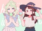 2girls bangs belt black_pants blonde_hair blouse blue_blouse blue_eyes blunt_bangs blush breasts brown_hair closed_mouth collarbone diana_cavendish expressionless food frilled_sleeves frills green_hair hand_on_headwear hat highres holding holding_food ice_cream_cone kagari_atsuko long_hair medium_breasts multicolored_hair multiple_girls pants qioco red_eyes shirt shirt_tucked_in short_sleeves simple_background smile t-shirt two-tone_hair white_shirt witch witch_hat