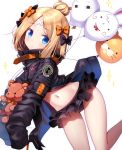 1girl abigail_williams_(fate/grand_order) balloon bangs bikini bikini_bottom bikini_under_clothes black_bikini_bottom black_bow black_jacket blonde_hair blue_eyes blush bow closed_mouth commentary_request crossed_bandaids eyebrows_visible_through_hair fate/grand_order fate_(series) fou_(fate/grand_order) hair_bow hair_bun head_tilt highres jacket long_hair long_sleeves looking_at_viewer medjed navel open_clothes open_jacket orange_bow parted_bangs polka_dot polka_dot_bow sasai_saji simple_background sleeves_past_fingers sleeves_past_wrists solo sparkle stuffed_animal stuffed_toy swimsuit teddy_bear twitter_username white_background