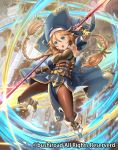 belt blue_cape blue_eyes bracer braid breasts cape cardfight!!_vanguard detached_sleeves habit hair_between_eyes holding_polearm i-la indoors jumping long_hair looking_at_viewer medium_breasts official_art pantyhose pelvic_curtain pointy_ears twin_braids