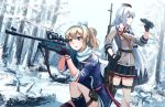 2girls binoculars blonde_hair bow commentary dragunov_svd fingerless_gloves forest garrison_cap girls_frontline gloves gun hair_bow hairband hat highres holding holding_gun holding_weapon long_hair multiple_girls nature ndtwofives one_knee ponytail red_eyes rifle russian_flag single_thighhigh sniper_rifle snow snowing sv-98 sv-98_(girls_frontline) svd_(girls_frontline) thigh-highs weapon white_hair winter