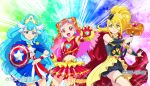 3girls :d avengers blonde_hair blue_eyes blue_hair blush cape captain_america captain_america_(cosplay) commentary cosplay cowboy_shot cure_ange cure_etoile cure_yell dress earrings elbow_gloves fingerless_gloves garrison_cap gloves glowing hair_ornament hair_ribbon hammer hat head_wings heart highres hugtto!_precure iron_man iron_man_(cosplay) jewelry kagayaki_homare lipstick long_hair looking_at_viewer magical_girl makeup marvel midriff multiple_girls navel nono_hana open_mouth parody pink_eyes pink_hair pom_poms precure ribbon scarf shield shiny shiny_clothes shiny_hair shiny_skin skirt smile sparkle star star_hair_ornament superhero thighs thor_(marvel) thor_(marvel)_(cosplay) ueyama_michirou very_long_hair weapon wrist_cuffs yakushiji_saaya yellow_eyes