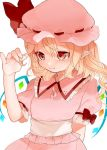 1girl arm_behind_back bangs blonde_hair blush commentary_request crystal dress eyebrows_visible_through_hair flandre_scarlet frilled_shirt_collar frills gotoh510 hair_between_eyes hand_up hat hat_ribbon highres long_hair mob_cap one_side_up pink_dress pink_hat pointy_ears puffy_short_sleeves puffy_sleeves red_eyes red_ribbon ribbon short_sleeves solo touhou upper_body white_sash wings