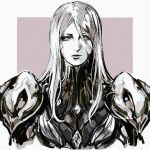 1girl armor bodysuit commentary english_commentary facing_viewer greyscale khora_(warframe) long_hair looking_at_viewer monochrome nvalkyrja shoulder_armor sidelocks solo standing warframe