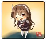 1girl artist_name ashigara_(kantai_collection) brown_eyes brown_hair chibi full_body gloves hairband index_finger_raised kantai_collection leaning_forward long_hair looking_at_viewer one_eye_closed open_mouth pantyhose remodel_(kantai_collection) smile solo standing taisa_(kari) uniform wavy_hair white_gloves white_hairband yellow_background