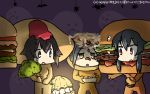 /\/\/\ 3girls alternate_costume bat black_hair broccoli brown_eyes commentary_request dated food ghost green_eyes hair_ornament hairclip halloween hamburger hamburger_costume hamu_koutarou hayasui_(kantai_collection) highres holding holding_food jitome kantai_collection kuroshio_(kantai_collection) multiple_girls omelet omelet_costume short_hair sidelocks sweat takoyaki takoyaki_costume yahagi_(kantai_collection)