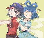 2girls :d ^_^ blue_dress blue_hair character_request closed_eyes closed_eyes dress facing_viewer flower from_side grey_background grey_eyes grey_hair hair_ornament hands_on_another's_shoulders heart leaf looking_at_viewer multiple_girls open_mouth pale_skin pink_flower puffy_short_sleeves puffy_sleeves red_vest sasa_kichi short_sleeves simple_background smile touhou upper_body vest
