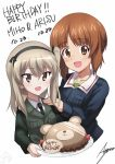 :d artist_name ashiwara_yuu bangs black_jacket black_neckwear black_ribbon blue_jacket boko_(girls_und_panzer) brown_eyes brown_hair cake character_name chocolate commentary dated dress_shirt english eyebrows_visible_through_hair food fruit girls_und_panzer green_shirt hair_ribbon hands_on_another's_shoulders happy_birthday jacket light_brown_hair long_hair long_sleeves looking_at_viewer military military_uniform necktie nishizumi_maho nishizumi_miho ooarai_military_uniform open_mouth ribbon selection_university_military_uniform shimada_arisu shirt short_hair siblings side_ponytail signature simple_background sisters smile sparkle standing strawberry stuffed_animal stuffed_toy teddy_bear uniform upper_body white_background white_shirt