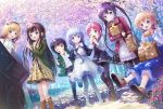 6+girls bag baguette black_hair black_legwear blonde_hair blue_eyes blue_hair blush boots bread brown_eyes brown_footwear brown_hair cherry_blossoms closed_mouth day eyebrows_visible_through_hair flower food gochuumon_wa_usagi_desu_ka? green_eyes hair_flower hair_ornament holding holding_bag hoto_cocoa index_finger_raised jouga_maya kafuu_chino kirima_sharo knee_boots long_hair looking_at_another looking_at_viewer maid maid_headdress multiple_girls natsu_megumi one_eye_closed open_mouth outdoors pantyhose psyche3313 purple_hair redhead short_hair sitting smile standing tedeza_rize twintails ujimatsu_chiya very_long_hair violet_eyes x_hair_ornament yellow_eyes