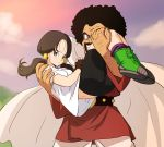1boy 1girl ass bike_shorts black_gloves black_hair blue_eyes brown_hair cape carrying clouds dragon_ball dragonball_z facial_hair father_and_daughter fingerless_gloves gloves haruyama_kazunori ishizuka_unshou long_hair mr._satan mustache outdoors princess_carry shirt short_hair short_sleeves short_twintails sky twintails videl white_cape white_shirt