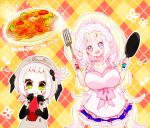 +_+ 2girls :d animal_hat apron argyle argyle_background black_gloves blonde_hair blue_eyes breasts creatures_(company) elbow_gloves food frying_pan game_freak gen_7_pokemon gloves green_eyes grey_hat hair_ornament hat jewelry ketchup large_breasts long_hair looking_at_viewer mimikyu multiple_girls napolitan necklace nintendo noodles open_mouth personification pink_pupils pokemon primarina short_hair smile spatula standing very_long_hair white_hair yuzu_ichika