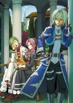 2boys 2girls ao_no_kiseki bangs basket bench black_gloves blue_eyes boots building closed_eyes eating ein_selnate eiyuu_densetsu fingerless_gloves gloves green_hair habit hair_between_eyes hair_tubes hand_on_hip head_rest high_heel_boots high_heels jacket jewelry kevin_graham legs_crossed long_hair long_sleeves looking_at_another medallion multiple_boys multiple_girls nun ono_(littleprayer) pants parted_bangs pendant pillar pink_hair puffy_long_sleeves puffy_sleeves ries_argent shirt shoes short_hair sidelocks sitting sora_no_kiseki sweatdrop wazy_hemisphere yellow_eyes