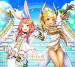 2girls absurdres animal_ears arm_up artist_request balloon black_gloves blonde_hair braid breasts brown_hair castanic_(tera) cleavage clouds dark_skin dress elin_(tera) fingerless_gloves flower gloves hair_flower hair_ornament highres horns jumping legs_up long_hair mary_janes multiple_girls official_art open_clothes open_dress open_mouth outdoors petals pink_eyes pointy_ears ponytail rabbit_ears rainbow shoes short_dress short_shorts shorts sky smile stairs tera_online thigh-highs twin_braids twintails v wallpaper white_dress white_gloves white_legwear yellow_eyes