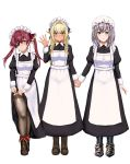 3girls alternate_costume apron armor blonde_hair blush boots commentary dark_skin dress dress_lift elf enmaided eyepatch green_eyes hat highres holding_hands hololive houshou_marine kinkin18 lifted_by_self long_hair looking_at_viewer maid maid_apron maid_headdress mob_cap multiple_girls orange_eyes pointy_ears redhead shiranui_flare shirogane_noel silver_hair thigh-highs twintails virtual_youtuber white_background