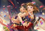 2girls :d back-to-back bang_dream! bangs bass_guitar black_eyes black_hair brown_hair confetti crop_top electric_guitar eyebrows_visible_through_hair glint guitar hair_ornament half-closed_eyes holding holding_instrument instrument medium_hair multiple_girls music open_mouth playing_instrument plectrum pom_pom_(clothes) sailor_collar scaffolding skirt smile star star_hair_ornament streamers suspenders sweat terumii toyama_kasumi upper_teeth ushigome_rimi violet_eyes wristband