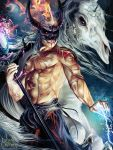 1boy abs copyright_name electricity fire horns legend_of_the_cryptids long_hair magic male_focus mask nail_polish official_art red_eyes scar shirtless skull solo staff white_hair