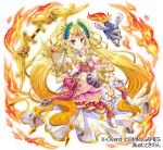 1girl apollon blonde_hair blue_eyes bow_(weapon) copyright_name dog dress fire hair_ornament hand_up harp instrument invisible_chair jewelry long_hair necklace official_art pink_dress sitting smile tiara tokinon very_long_hair weapon white_footwear white_legwear x-overd