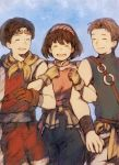 1girl baggy_pants brown_hair closed_eyes commentary_request gensou_suikoden gensou_suikoden_ii gloves hairband jowy_atreides-blight maekakekamen multiple_boys nanami_(suikoden) open_mouth pants riou shirt short_hair smile