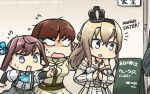 4girls asagumo_(kantai_collection) ascot bare_shoulders blonde_hair blue_eyes braid brown_hair commentary_request crown dated english flying_sweatdrops french_braid grey_eyes grey_eyes hair_ribbon hamu_koutarou highres jewelry kantai_collection long_hair mini_crown multiple_girls necklace no_pupils off_shoulder ooi_(kantai_collection) remodel_(kantai_collection) ribbon school_uniform serafuku shirt sign suspenders suzuya_(kantai_collection) sweat twintails warspite_(kantai_collection) white_shirt