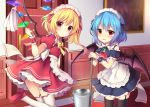 2girls :d absurdres alternate_costume apron ascot bangs bare_shoulders bat_wings blonde_hair blue_hair blue_ribbon blush bow bowtie brooch bucket commentary_request cowboy_shot crystal detached_sleeves door dress duster enmaided eyebrows_visible_through_hair flandre_scarlet frilled_apron frilled_shirt_collar frills garter_straps hair_between_eyes hair_ribbon highres holding holding_mop indoors jewelry leg_up looking_at_viewer maid maid_apron maid_headdress mop multiple_girls one_side_up open_mouth petticoat picture_frame puffy_short_sleeves puffy_sleeves red_dress red_eyes red_footwear red_neckwear red_ribbon remilia_scarlet ribbon ruhika shoes short_dress short_hair short_sleeves siblings sisters smile standing standing_on_one_leg thigh-highs thighs touhou waist_apron water white_apron white_legwear wings wrist_cuffs yellow_bow yellow_neckwear zettai_ryouiki