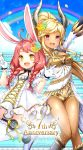 2girls absurdres animal_ears arm_up artist_request blonde_hair braid breasts brown_hair castanic_(tera) cleavage clouds dark_skin dress elin_(tera) flower gloves hair_flower hair_ornament highres horns jumping legs_up long_hair mary_janes multiple_girls official_art open_clothes open_dress open_mouth outdoors petals pink_eyes pointy_ears ponytail rabbit_ears rainbow shoes short_dress short_shorts shorts sky smile stairs tera_online thigh-highs twin_braids twintails v wallpaper white_dress white_gloves white_legwear yellow_eyes