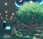 1boy alarm_clock blue_flower book bookshelf brown_hair brown_pants cabinet clock coffee_mug computer crescent_moon cup dappled_sunlight door flower food fruit glowing glowing_screen half-closed_eyes indoors laptop looking_down male_focus moon mug night night_sky original outstretched_arms pants pillow pood1e profile rabbit shadow shirt short_hair sign sitting sky stairs star star_(sky) starry_sky steam sunlight table tree yellow_shirt