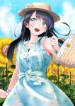 1girl :d arm_at_side armpit_peek bangs bare_shoulders basket black_hair blue_dress blue_eyes blue_sky blush brown_hat clouds collarbone commentary_request cowboy_shot dress eyebrows_visible_through_hair floral_print flower hat hat_flower highres holding holding_basket jewelry kinugasa_yuuichi looking_away necklace open_mouth original outdoors pendant print_dress round_teeth sky sleeveless sleeveless_dress smile solo sparkle straight_hair sunflower swept_bangs teeth upper_teeth white_flower wristband