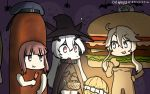 3girls anchorage_hime bat blonde_hair blue_eyes brown_eyes cape commentary_request dated eating food ghost halloween halloween_costume hamburger hamburger_costume hamu_koutarou hat headgear highres iowa_(kantai_collection) kantai_collection multiple_girls open_mouth sailor_hat sausage shinkaisei-kan short_hair sidelocks star star-shaped_pupils symbol-shaped_pupils white_skin witch witch_hat z3_max_schultz_(kantai_collection)