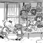 1boy 6+girls akebono_(kantai_collection) basket box can chibi cooler crab_on_head glasses greyscale hatsuyuki_(kantai_collection) hose kantai_collection long_hair makigumo_(kantai_collection) monochrome multiple_girls nobuyoshi-zamurai oboro_(kantai_collection) okinami_(kantai_collection) old_man pillow pleated_skirt rabbit sazanami_(kantai_collection) school_uniform serafuku short_hair sitting skirt soda_can soumen tray ushio_(kantai_collection) water