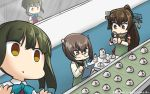 3girls apron bespectacled bow breast_padding brown_eyes brown_hair clipboard commentary_request conveyor_belt dated detached_sleeves empty_eyes factory glasses green_hair hamu_koutarou headgear highres kantai_collection long_hair multiple_girls open_mouth ponytail radar school_uniform short_hair taihou_(kantai_collection) takanami_(kantai_collection) type_91_armor-piercing_shell yamato_(kantai_collection)