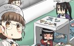 >_< 3girls apron black_hair blush brown_hair chef_hat chopsticks closed_eyes commentary_request conveyor_belt dated fish flat_top_chef_hat flying_sweatdrops food fubuki_(kantai_collection) glasses hamu_koutarou happi hat headdress highres japanese_clothes kantai_collection long_hair multiple_girls nachi_(kantai_collection) open_mouth pince-nez remodel_(kantai_collection) roma_(kantai_collection) sparkle squid sushi