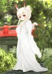 1girl absurdres ayanami_(azur_lane) azur_lane bangs blurry blurry_background blush bridge brown_eyes closed_fan closed_mouth commentary_request day depth_of_field eyebrows_visible_through_hair fan flower folding_fan full_body glint hair_between_eyes hair_flower hair_ornament hand_up head_tilt headgear high_ponytail highres holding holding_fan japanese_clothes jewelry kimono long_hair long_sleeves looking_at_viewer maru_shion outdoors ponytail ring rose sidelocks smile solo standing uchikake wedding_band white_flower white_kimono white_rose wide_sleeves