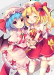 2girls :d absurdres bat_wings blonde_hair blue_hair blush bow commentary_request crystal dress dress_lift eyebrows_visible_through_hair fang feet_out_of_frame flandre_scarlet frilled_shirt_collar frills grey_background hat hat_bow hat_ribbon highres lifted_by_self looking_at_viewer mary_janes mob_cap multiple_girls neck_ribbon one_eye_closed open_mouth petticoat pink_dress pink_hat puffy_short_sleeves puffy_sleeves red_bow red_eyes red_footwear red_neckwear red_ribbon red_sash red_skirt red_vest remilia_scarlet ribbon ruhika shoes short_hair short_sleeves siblings sisters skirt smile standing standing_on_one_leg thigh-highs touhou v vest white_hat white_legwear wings wrist_cuffs yellow_bow yellow_neckwear yellow_outline yellow_ribbon zettai_ryouiki