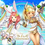 2girls animal_ears arm_up artist_request balloon black_gloves blonde_hair braid breasts brown_hair castanic_(tera) cleavage clouds dark_skin dress elin_(tera) fingerless_gloves flower gloves hair_flower hair_ornament highres horns jumping legs_up long_hair mary_janes multiple_girls official_art open_clothes open_dress open_mouth outdoors petals pink_eyes pointy_ears ponytail rabbit_ears rainbow shoes short_dress short_shorts shorts sky smile stairs tera_online thigh-highs twin_braids twintails v wallpaper white_dress white_gloves white_legwear yellow_eyes