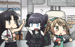 3girls anger_vein apron arm_warmers black_hair blush bow commentary_request dated double_bun doughnut factory food gloves hadanugi_dousa hair_ribbon hamu_koutarou head_scarf highres japanese_clothes kantai_collection light_brown_hair light_cruiser_oni long_hair michishio_(kantai_collection) multiple_girls open_mouth partly_fingerless_gloves ribbon school_uniform shinkaisei-kan short_twintails shouhou_(kantai_collection) tress_ribbon twintails yugake