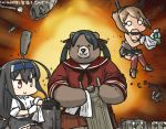 2girls animalization bear black_hair black_legwear bottle brown_eyes brown_hair cannon cleaning commentary_request dated explosion flying_sweatdrops gloves hair_ribbon hamu_koutarou hatsushimo_(kantai_collection) headband headgear kantai_collection long_hair low-tied_long_hair machinery midriff mikuma_(kantai_collection) miniskirt multiple_girls mutsu_(kantai_collection) neckerchief open_mouth pleated_skirt radio_antenna red_legwear remodel_(kantai_collection) ribbon school_uniform serafuku short_hair skirt smile solid_circle_eyes spray_bottle towel twintails white_gloves wiping