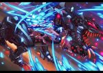 attack battle bio_tyranno blade blue_eyes charging claws commentary_request cutting damaged destruction fangs g.haruka glowing glowing_eyes glowing_weapon mecha mugen_liger no_humans red_eyes slashing weapon zoids zoids_genesis