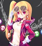 1girl alternate_breast_size alternate_costume arm_up bangs belt belt_buckle black_background blush breasts buckle cleavage commentary_request drawstring ear_piercing earrings eyebrows_visible_through_hair eyewear_on_head flandre_scarlet glint gloves glowing hair_between_eyes hand_in_pocket hood hooded_jacket jacket jewelry long_hair long_sleeves medium_breasts necklace no_hat no_headwear one_side_up open_clothes open_jacket parted_lips piercing pink_jacket red_eyes semi-rimless_eyewear shirt simple_background skull skull_earrings solo sunglasses touhou under-rim_eyewear upper_body very_long_hair vils white-framed_eyewear white_gloves white_shirt wings