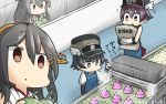 3girls apron arare_(kantai_collection) arm_warmers black_hair brown_eyes commentary_request conveyor_belt dated empty_eyes flying_sweatdrops gloves hair_between_eyes hair_ornament hairclip hamu_koutarou haruna_(kantai_collection) hat headgear highres kantai_collection king_nikochan long_hair multiple_girls poop purple_hair sakawa_(kantai_collection) short_hair suspenders white_gloves winged_hat