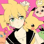 1boy :d :p ;3 bass_clef blonde_hair charmander cheek-to-cheek close-up creatures_(company) crossover dutch_angle eyebrows_visible_through_hair face fire frown game_freak gen_1_pokemon gen_2_pokemon green_eyes headset jigglypuff kagamine_len looking_at_another male_focus musical_note nintendo open_mouth pikachu pink_background pokemon pokemon_(creature) psyduck sailor_collar shirt short_hair simple_background sinaooo smile tail teeth togepi tongue tongue_out translated upper_body vocaloid white_shirt