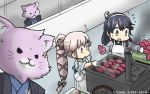 2girls ahoge animalization apron black_hair brown_eyes cat commentary_request conveyor_belt dated flying_sweatdrops food gloves hachimaki hair_ribbon hamu_koutarou headband highres japanese_clothes kantai_collection kimono long_hair multiple_girls pink_hair ponytail ribbon school_uniform serafuku sweater sweet_potato tama_(kantai_collection) ushio_(kantai_collection) very_long_hair yakiimo yura_(kantai_collection)